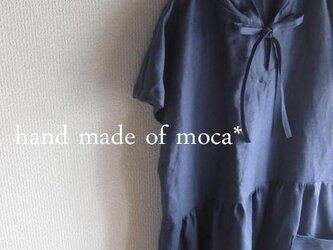 【受注製作】W50半袖リネン前ヒモリボンフード付きワンピース★インディゴの画像