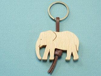 ゾウ / 象 木のキーリングの画像