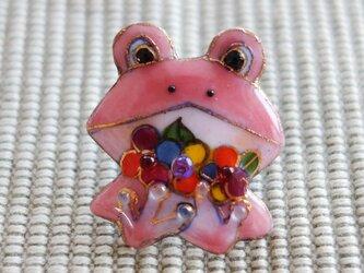 七宝焼ピンブローチ(ピンバッジ,ピンズ) カエル(花)の画像