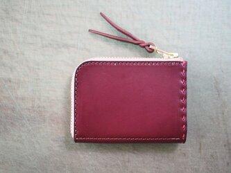 L字ファスナーの小型財布 / ワインレッドの画像
