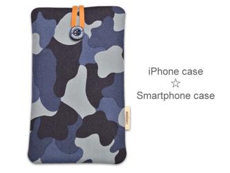 迷彩と本革のiPhoneポーチ(ネイビー)受注制作の画像