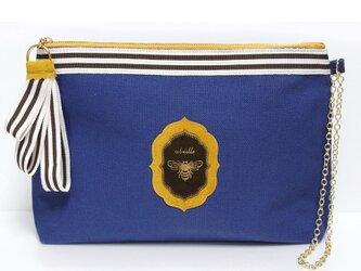 帆布クラッチ Abeille  /ブルーの画像