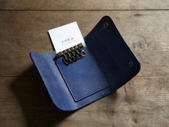 藍染め革 カード&キーケース の画像