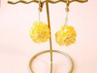 ゆらゆら黄色いお花のイヤリングの画像