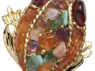 天然石 カエル ピンブローチの画像