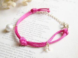 シルクコードのイニシャル【選択可】ブレス(ピンク)の画像