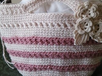 再販   ホワイト&ピンクの麻バックの画像