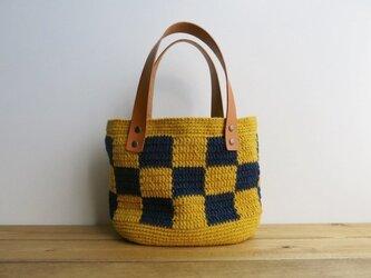 格子模様のバッグ(黄×紺)の画像