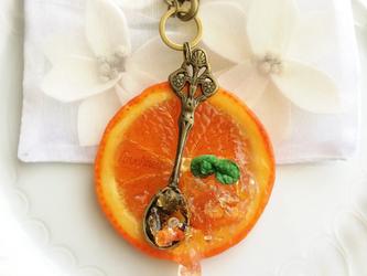 オレンジのジュレ バッグチャームの画像