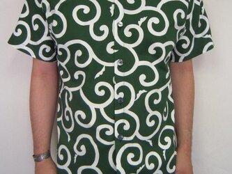 唐草模様半袖シャツ(緑)の画像