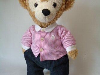 ダッフィーお洋服 シャツ(ピンクストライプ)の画像