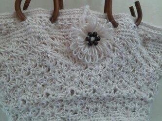 白の麻糸バックの画像