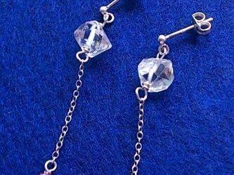 ルビーとハーキマーダイヤモンドのシルバーピアスの画像