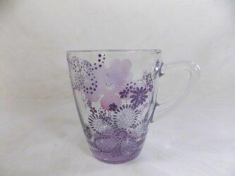 パープル・もこもこお花のマグカップの画像
