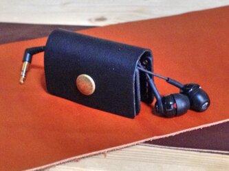 革のイヤホン巻き取りホルダー(ブラック)の画像