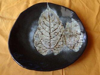 ボタニカルアートのような葉脈転写 変形皿5の画像