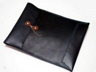 トスカーナ床革のマニラ封筒 A4ファイル対応 水色糸の画像