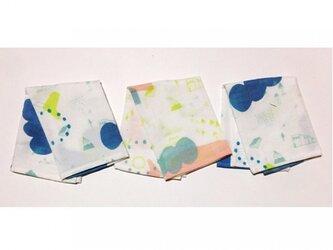 やわらか綿のカラフルハンカチ(ブルー)の画像