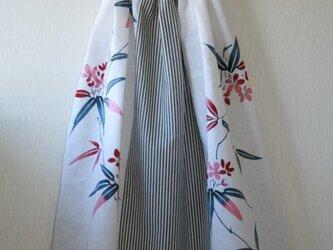 白地夾竹桃 綿麻ストライプ ロングゴムスカート Fサイズ の画像