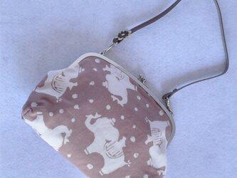soldout草木染&手縫/がま口バッグ/ぞうさん×小花柄の画像