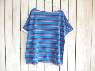 どっちもTシャツ(レース)/青ボーダー×グレーの画像