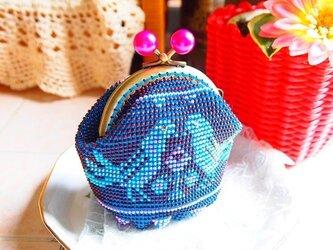 ビーズ編みがま口-福福青い鳥の画像