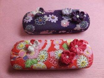 蝶花めがねケース(紫)の画像