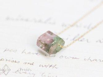 K10◆溶け合うピンク&グリーン トルマリン結晶ネックレスの画像