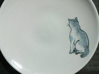 染付5寸猫皿 22の画像