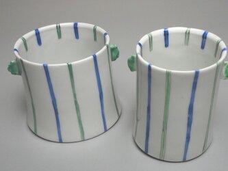 青と緑のストライプグラス 耳付きの画像