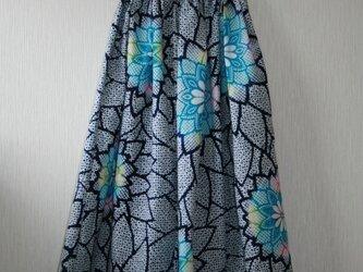 浴衣地 菊模様 タックゴムスカート Fサイズの画像