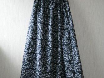 浴衣地 流水に小菊 ギャザーゴムスカート Fサイズの画像