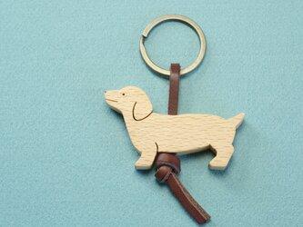 ダックスフンド / 犬 木のキーリングの画像