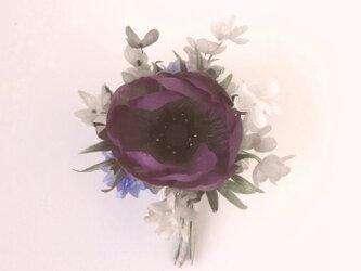 アネモネとライラック 紫色 * シルクデシン製 * コサージュの画像