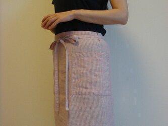 ☆リネン:丈43cm ピンクストライプのカフェエプロン☆の画像