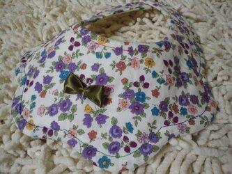 お出かけ*5枚重ね*スタイ*紫小花の画像