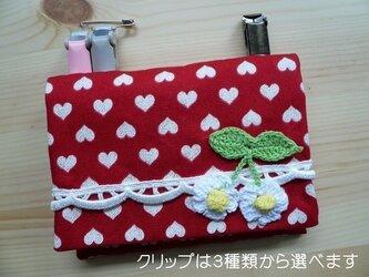 移動ポケット  赤×白ラメハート 花モチーフ♪の画像