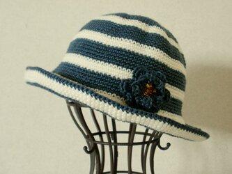 【SALE】ミニコサージュ ボーダー帽子(ネイビー×オフホワイト)の画像