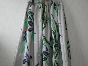 H様専用 浴衣地 菖蒲模様 タックゴムスカート Fサイズの画像
