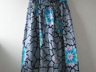 浴衣地 菊模様 ギャザーゴムスカート Fサイズの画像