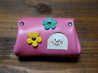 ninmari 革コインケース ピンク×キイロの画像