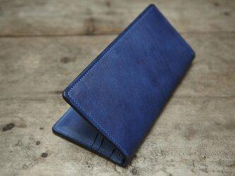 藍染め革 長財布の画像