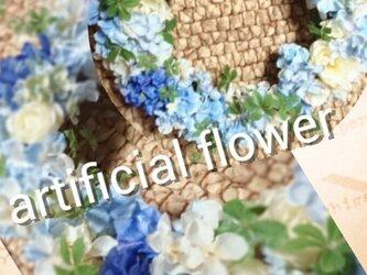 アジサイartificial flowerリースの画像
