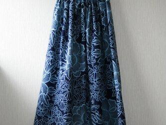 浴衣地 牡丹模様 ギャザーゴムスカート Fサイズの画像