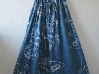 浴衣地 ヨロケ縞 ギャザーゴムスカート Fサイズの画像