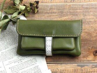 fille-wallet グリーン(杤木レザー財布)の画像