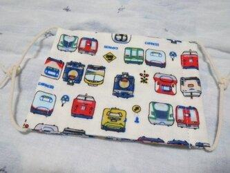 子供マスク小学生サイズ  新幹線電車オフホワイトの画像