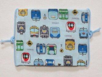 子供マスク小学生サイズ  新幹線電車 水色の画像