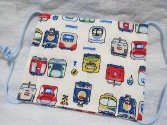 子供マスクSサイズ  電車新幹線 オフホワイトの画像