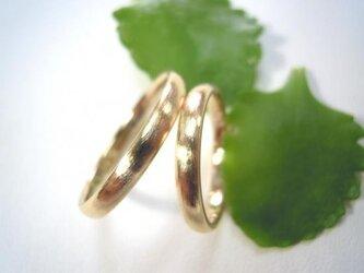 結婚指輪☆ゴールド製 荒仕上げ シンプルな甲丸の画像